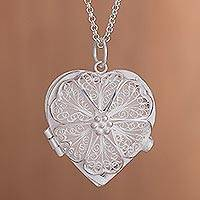 Sterling silver filigree locket necklace, 'Love's Treasure' - Handcrafted Sterling Silver Filigree Heart Locket Necklace