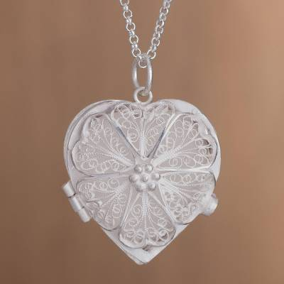 Handcrafted sterling silver filigree heart locket necklace loves sterling silver filigree locket necklace loves treasure handcrafted sterling silver filigree heart mozeypictures Image collections