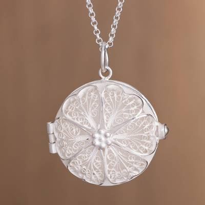 Sterling silver filigree locket necklace, 'Treasured Memories' - Handcrafted Sterling Silver Filigree Circle Locket Necklace