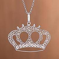 Sterling silver filigree pendant necklace, 'Princess Tiara' - Handcrafted Sterling Silver Filigree Crown Pendant Necklace