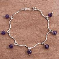 Amethyst link bracelet, 'Purple Dewdrops' - Linked Sterling Silver Curves and Amethyst Bracelet