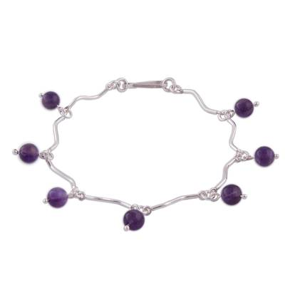 Linked Sterling Silver Curves and Amethyst Bracelet