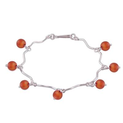 Linked Sterling Silver Curves and Carnelian Bracelet