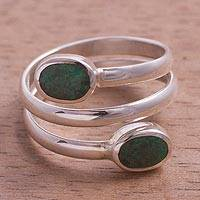 Chrysocolla wrap ring, 'Double Embrace' - Handcrafted Green-Blue Chrysocolla and Fine Silver Wrap Ring