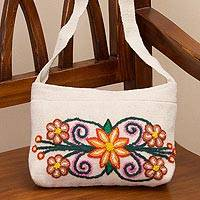 Wool sling bag, 'Lovely Nature' - Ivory Sling with Floral Embroidery in 100% Wool from Peru