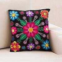 Embroidered cushion cover, 'Paradise in the Andes' - Peruvian Artisan Made Black Cushion Cover with Floral Motif