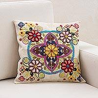 Wool cushion cover, 'Enchanting Bouquets' - Cushion Cover with Flowers and Geometric Shapes from Peru
