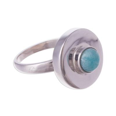 Peruvian Modern Sterling Silver and Amazonite Cocktail Ring