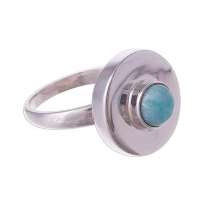 Amazonite cocktail ring, 'Sweet Amazonite' - Peruvian Modern Sterling Silver and Amazonite Cocktail Ring