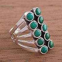 Chrysocolla cocktail ring, 'Spirited Symmetry' - Peruvian Artisan Crafted Sterling Silver and Gemstone Ring