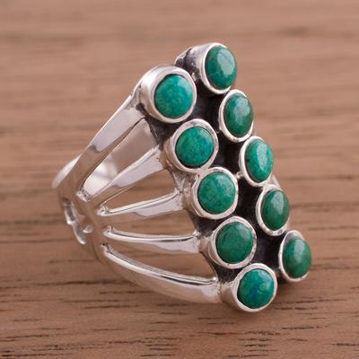 Novica Chrysocolla cufflinks, Oval Green