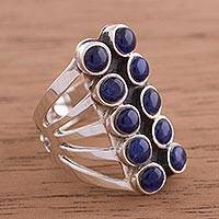 Sodalite cocktail ring, 'Spirited Equilibrium' - Sodalite and Sterling Silver Modern Cocktail Ring from Peru