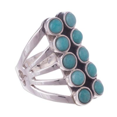Amazonite cocktail ring, 'Spirited Balance' - Andean Sterling Silver Cocktail Ring with Amazonite Stones