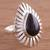 Obsidian cocktail ring, 'Drop of Elegance' - Peruvian Teardrop Obsidian and Sterling Silver Cocktail Ring (image 2) thumbail