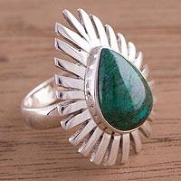 Chrysocolla cocktail ring, 'Drop of Splendor' - Teardrop Chrysocolla and Sterling Silver Cocktail Ring