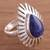 Sodalite cocktail ring, 'Drop of Grandeur' - Sterling Silver and Blue Sodalite Cocktail Ring from Peru (image 2) thumbail