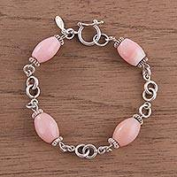 Opal link bracelet, 'Rose Radiance' - Sterling Silver Link Bracelet with Pink Opal Beads from Peru