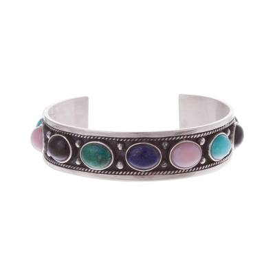 Multi-gemstone cuff bracelet, 'Colorful Arc' - Sterling Silver Cuff Bracelet Adorned with Gemstones