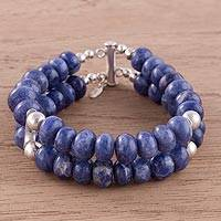 Sodalite beaded bracelet, 'Mirror Image' - Sodalite and Sterling Silver Double Strand Beaded Bracelet