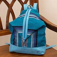Alpaca blend backpack, 'Valley Travels' - Turquoise Striped Handwoven Alpaca Blend Expandable Backpack