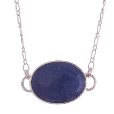 Sodalite pendant necklace, 'Captive Beauty' - Peruvian Oval Sodalite Pendant on Sterling Silver Chain