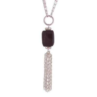 Obsidian and Multi-Strand Sterling Silver Pendant Necklace