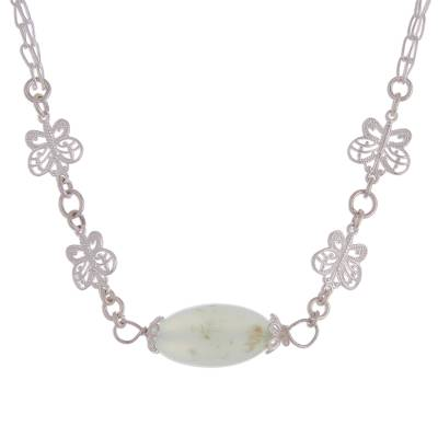 Opal pendant necklace, 'Enchanted Butterflies' - Opal and Sterling Silver Butterflies Pendant Necklace