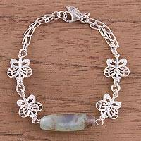 Opal link pendant bracelet, 'Enchanted Flight' - Sterling Silver Link Bracelet with Butterflies and Opal Bead