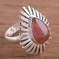 Rhodrochrosite cocktail ring, 'Drop of Glory' - Teardrop Rhodochrosite and Sterling Silver Cocktail Ring