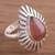 Rhodrochrosite cocktail ring, 'Drop of Glory' - Teardrop Rhodochrosite and Sterling Silver Cocktail Ring (image 2) thumbail