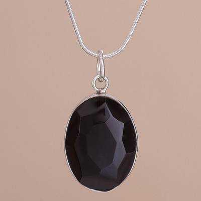 Oval faceted obsidian and sterling silver pendant necklace obsidian pendant necklace powerful elegance oval faceted obsidian and sterling silver pendant aloadofball Image collections