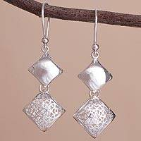 Sterling silver dangle earrings, 'Refined Geometry' - Sterling Silver Double Diamond-Shaped Dangle Earrings