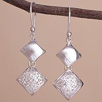 Sterling silver dangle earrings, 'Refined Geometry' - Sterling Silver Double Diamond-Shaped Dangle Earrings