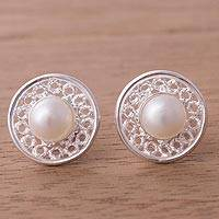Cultured pearl stud earrings, 'Circle Splendor' - Cultured Pearl and Sterling Silver Circle Stud Earrings