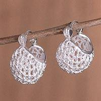Sterling silver hoop earrings, 'Precious Baskets' - Handcrafted Sterling Silver Basket Rope Motif Hoop Earrings
