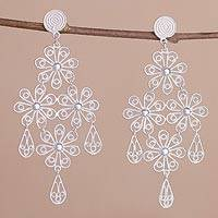 Sterling silver chandelier earrings, 'Daisy Cascade' - Sterling Silver Floral Teardrop Chandelier Earrings