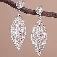 Sterling silver dangle earrings, 'Silver Laurel' - Sterling Silver Openwork Laurel Leaf Dangle Earrings