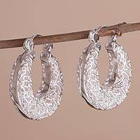 Sterling silver hoop earrings, 'Lovely Luck' - Sterling Silver Scrollwork Elongated Hoop Earrings