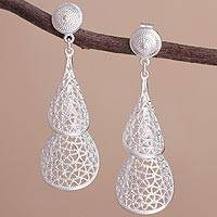 Sterling silver dangle earrings, 'Dewdrop Cascade' - Sterling Silver Openwork Double Teardrop Dangle Earrings