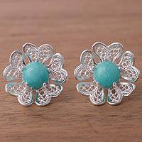 Amazonite button earrings, 'Sea Bloom' - Amazonite and Sterling Silver Flower Button Earrings
