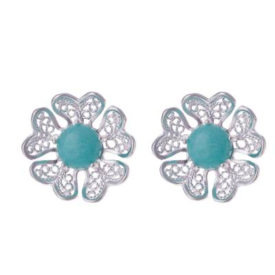 Amazonite and Sterling Silver Flower Button Earrings