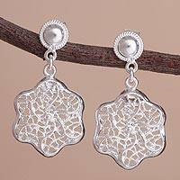 Sterling silver dangle earrings, 'Botanical Lace' - Lacy Sterling Silver Openwork Flower Dangle Earrings