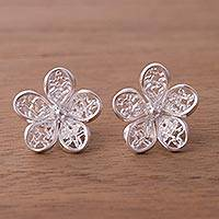 Sterling silver button earrings, 'Lacy Flowers' - Handcrafted Sterling Silver Openwork Flower Button Earrings
