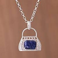 Sodalite pendant necklace, 'Perfect Accessory' - Sterling Silver and Sodalite Purse Pendant Necklace