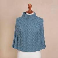 100% alpaca poncho, 'Celestial Beauty' - Hand Knit Blue 100% Alpaca Poncho from Peru