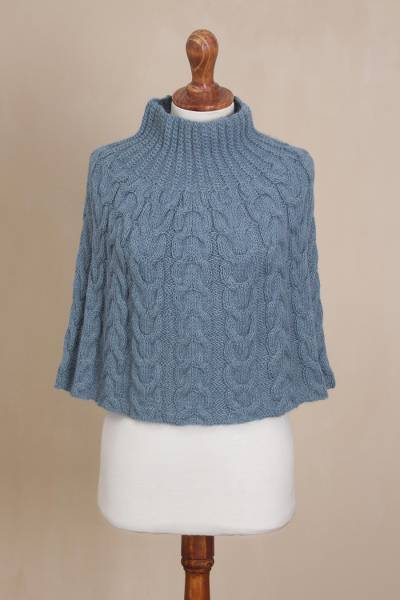 716dc286e Hand Knit Blue 100% Alpaca Poncho from Peru - Celestial Beauty | NOVICA