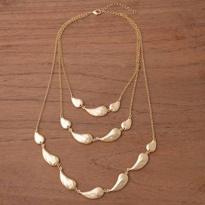 Gold plated pendant necklace, 'Princess of Gold Drops' - Three-Tiered Gold Plated Link Necklace from Peru