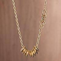 Gold plated pendant necklace, 'Gold Abacus' - Disc-Shaped Gold Plated Pendant Necklace from Peru