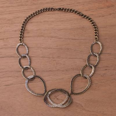 Bronze plated link necklace, 'Bronze Modernity' - Bronze Plated Modern Link Necklace from Peru