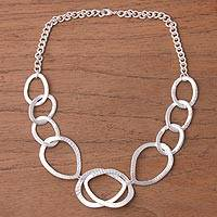 Silver plated link necklace, 'Silver Modernity' - Silver Plated Modern Link Necklace from Peru